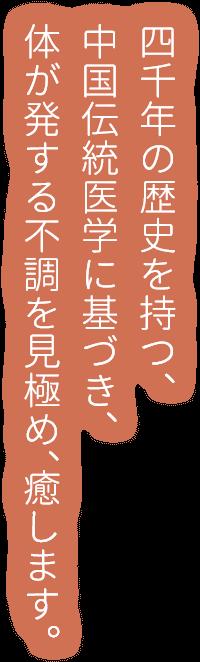 四千年の歴史を持つ、中国伝統医学に基づき、体が発する不調を見極め、癒します。